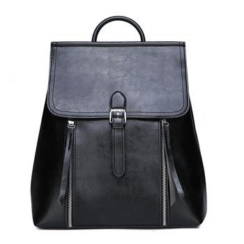 OEM branded vintage black PU leather backpacks