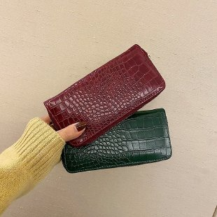 2020 zippered crocodile pattern PU wallet